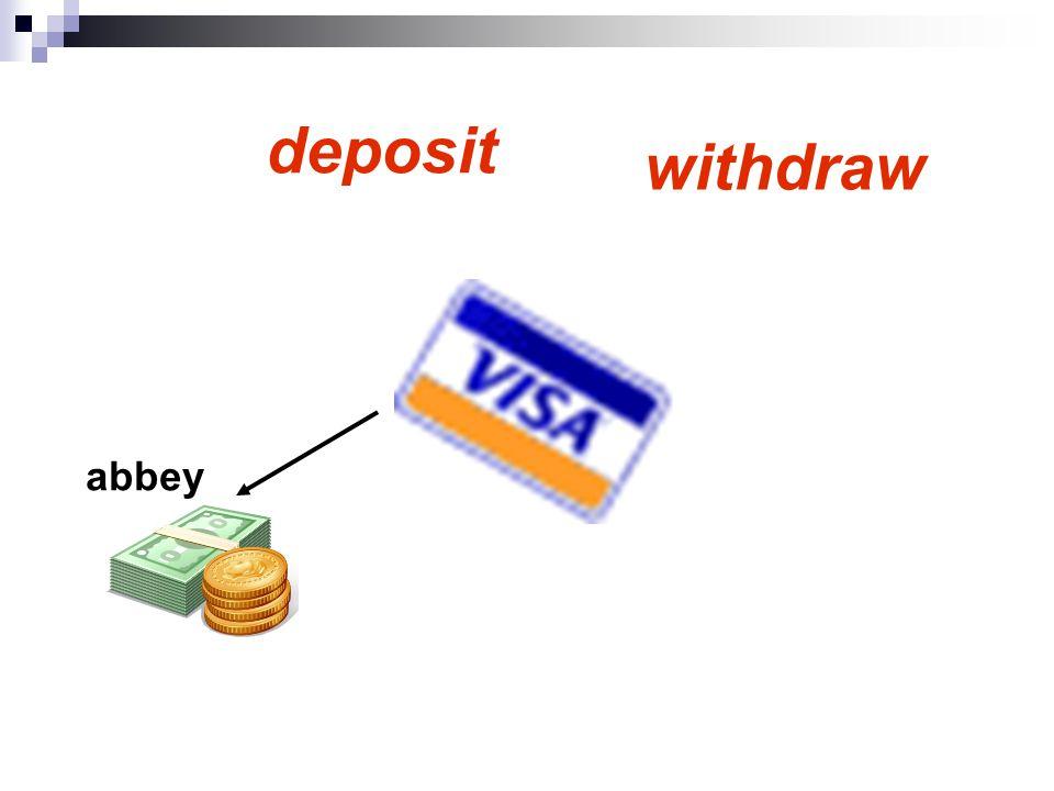 getBalance deposit withdraw abbey