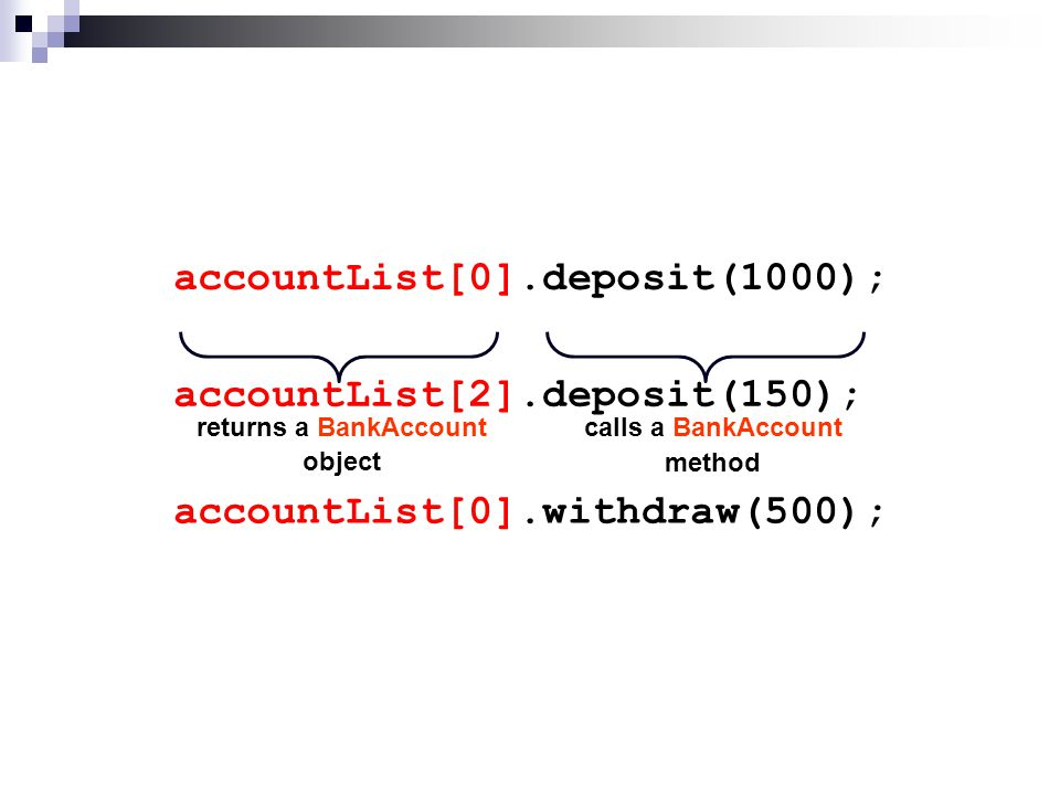 public class BankAccountTester2 { public static void main(String[ ] args) { BankAccount[ ] accountList = new BankAccount[3]; accountList[0] = new BankAccount( 99786754 , Susan Richards ); accountList[1] = new BankAccount( 44567109 , Delroy Jacobs ); accountList[2] = new BankAccount( 46376205 , Sumana Khan ); accountList[0].deposit(1000); accountList[2].deposit(150); accountList[0].withdraw(500); for(BankAccount item : accountList) { System.out.println( Account number: + item.getAccountNumber()); System.out.println( Account name: + item.getAccountName()); System.out.println( Current balance: + item.getBalance()); System.out.println(); } } }