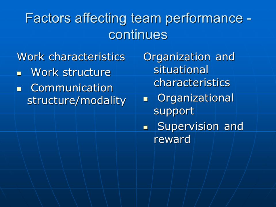 Factors affecting team performance - continues Work characteristics Work structure Work structure Communication structure/modality Communication structure/modality Organization and situational characteristics Organizational support Organizational support Supervision and reward Supervision and reward