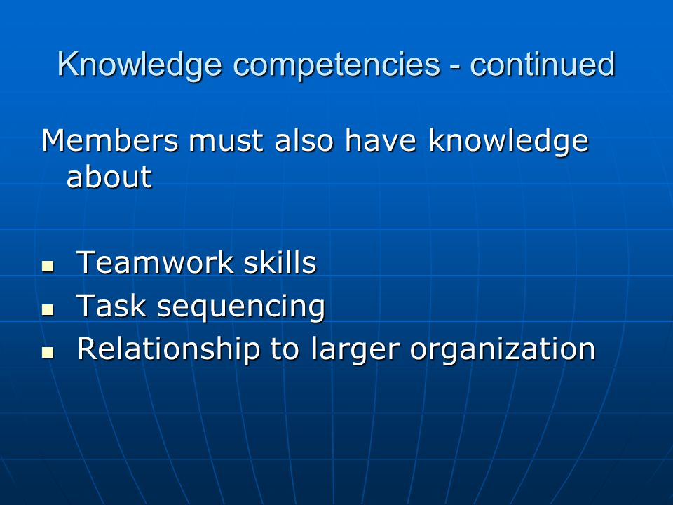 Knowledge competencies - continued Members must also have knowledge about Teamwork skills Teamwork skills Task sequencing Task sequencing Relationship