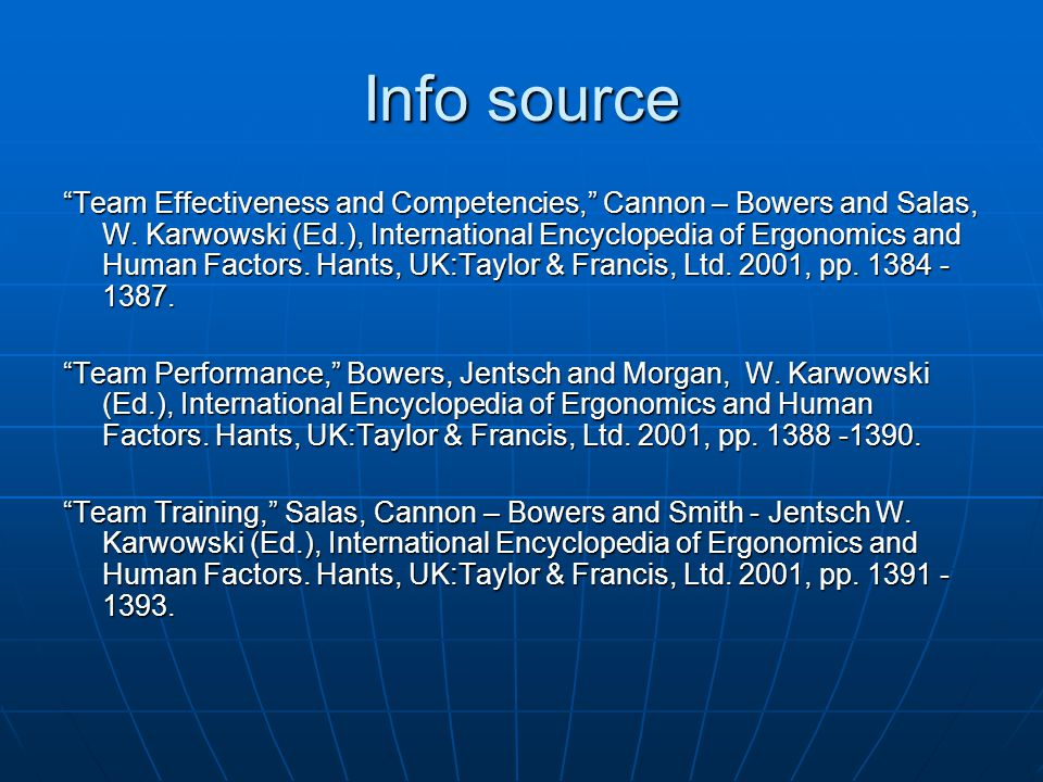 "Info source ""Team Effectiveness and Competencies,"" Cannon – Bowers and Salas, W. Karwowski (Ed.), International Encyclopedia of Ergonomics and Human F"