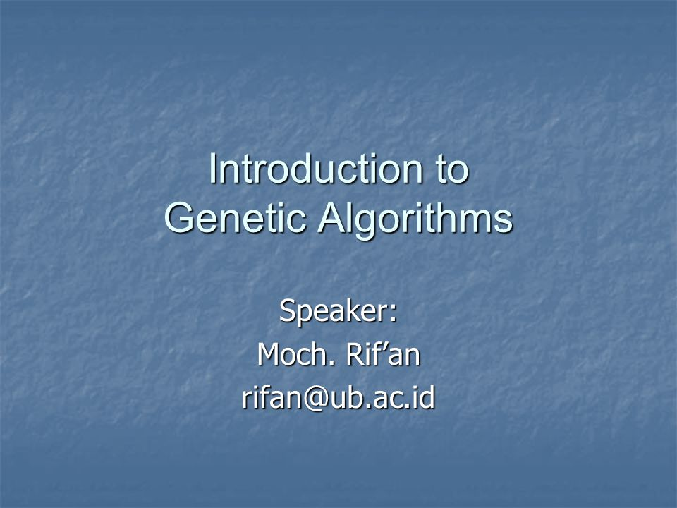 What are genetic algorithms.