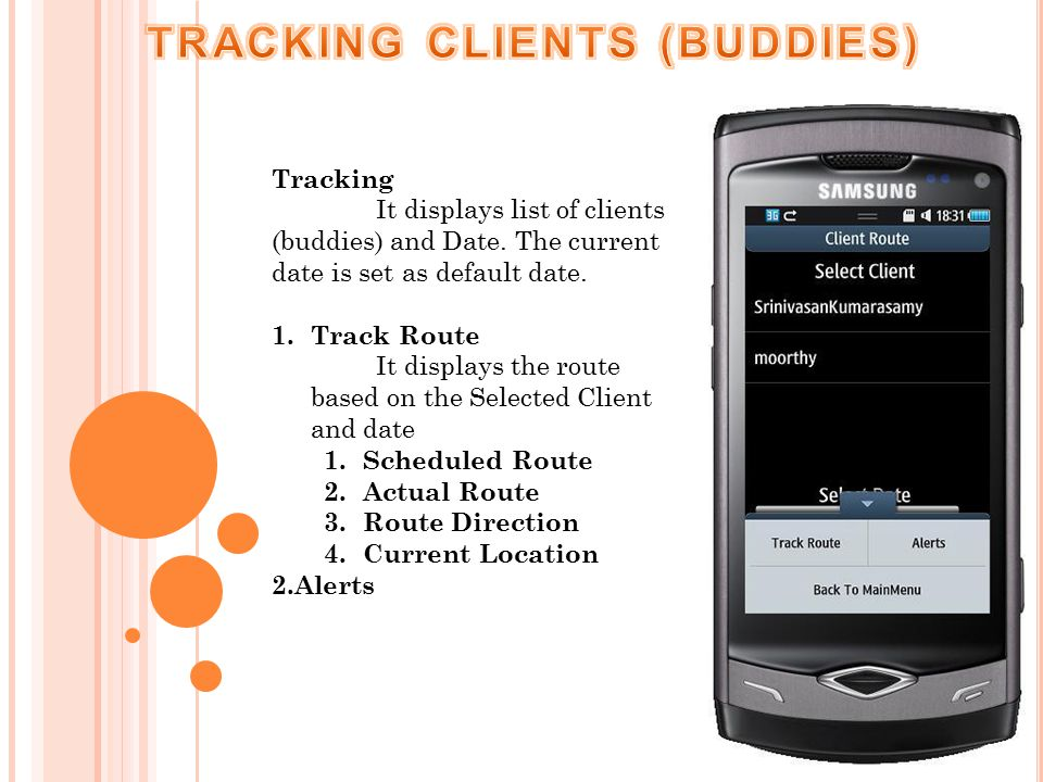 Tracking It displays list of clients (buddies) and Date.