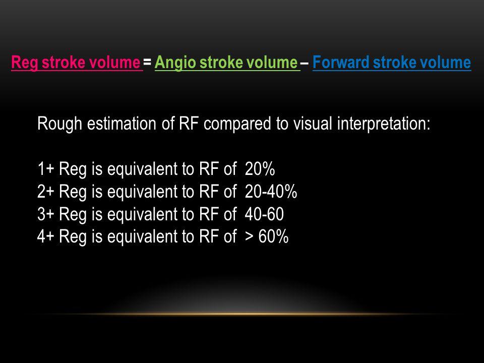 Reg stroke volume = Angio stroke volume – Forward stroke volume Rough estimation of RF compared to visual interpretation: 1+ Reg is equivalent to RF of 20% 2+ Reg is equivalent to RF of 20-40% 3+ Reg is equivalent to RF of 40-60 4+ Reg is equivalent to RF of > 60%