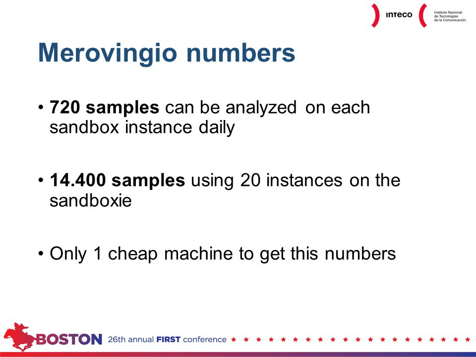 Merovingio numbers 720 samples can be analyzed on each sandbox instance daily 14.400 samples using 20 instances on the sandboxie Only 1 cheap machine to get this numbers