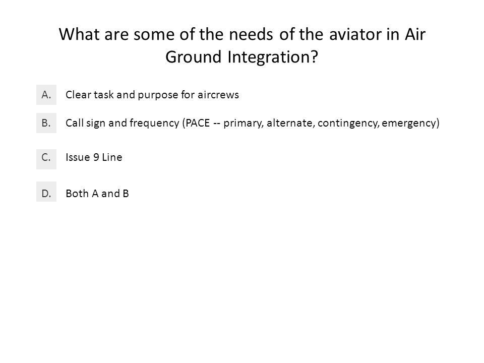 What are some of the needs of the aviator in Air Ground Integration.