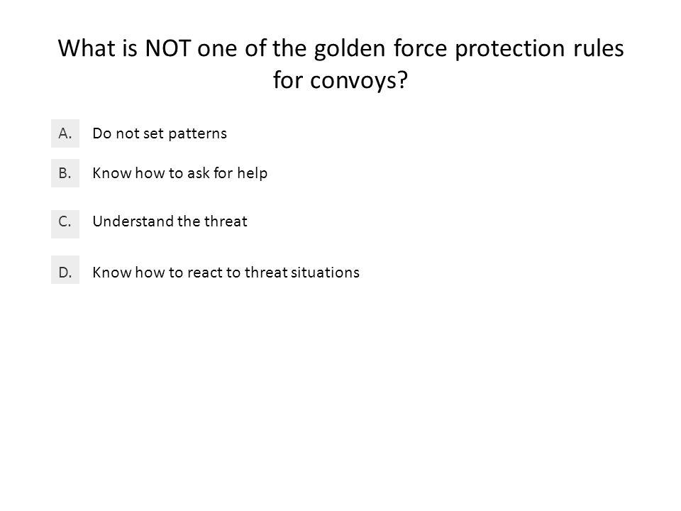 What is NOT one of the golden force protection rules for convoys.