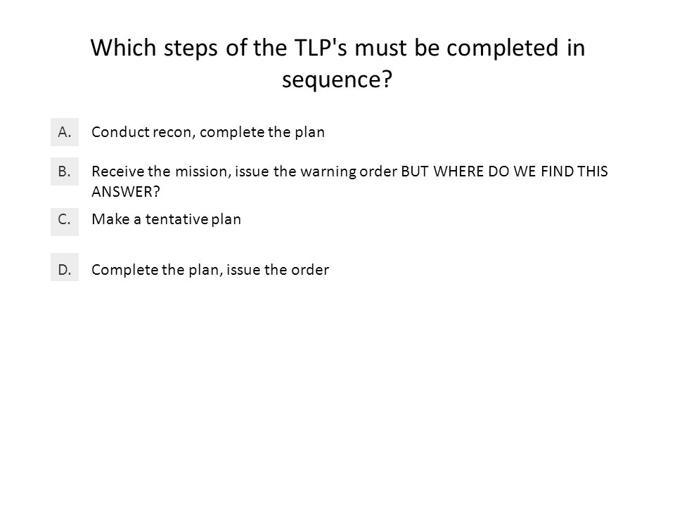 Which steps of the TLP s must be completed in sequence.