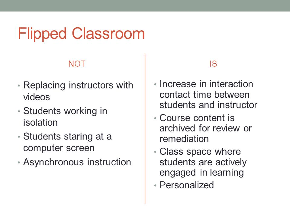 Flipped Classroom NOT Replacing instructors with videos Students working in isolation Students staring at a computer screen Asynchronous instruction I