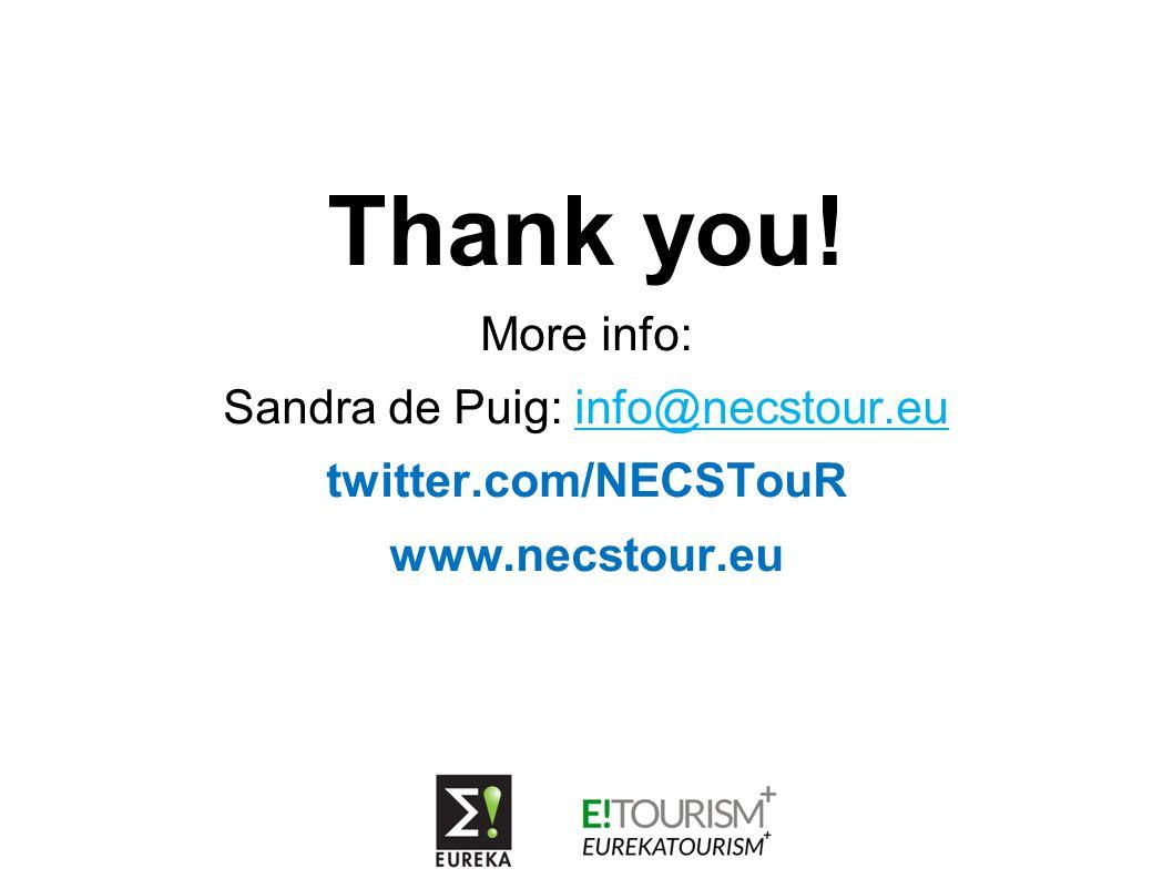 Thank you! More info: Sandra de Puig: info@necstour.eu twitter.com/NECSTouR www.necstour.eu