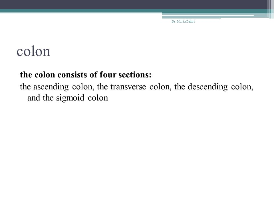 colon the colon consists of four sections: the ascending colon, the transverse colon, the descending colon, and the sigmoid colon Dr. Maria Zahiri