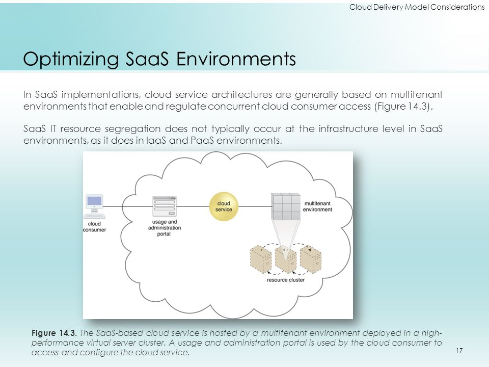 Cloud Delivery Model Considerations Optimizing SaaS Environments In SaaS implementations, cloud service architectures are generally based on multitena