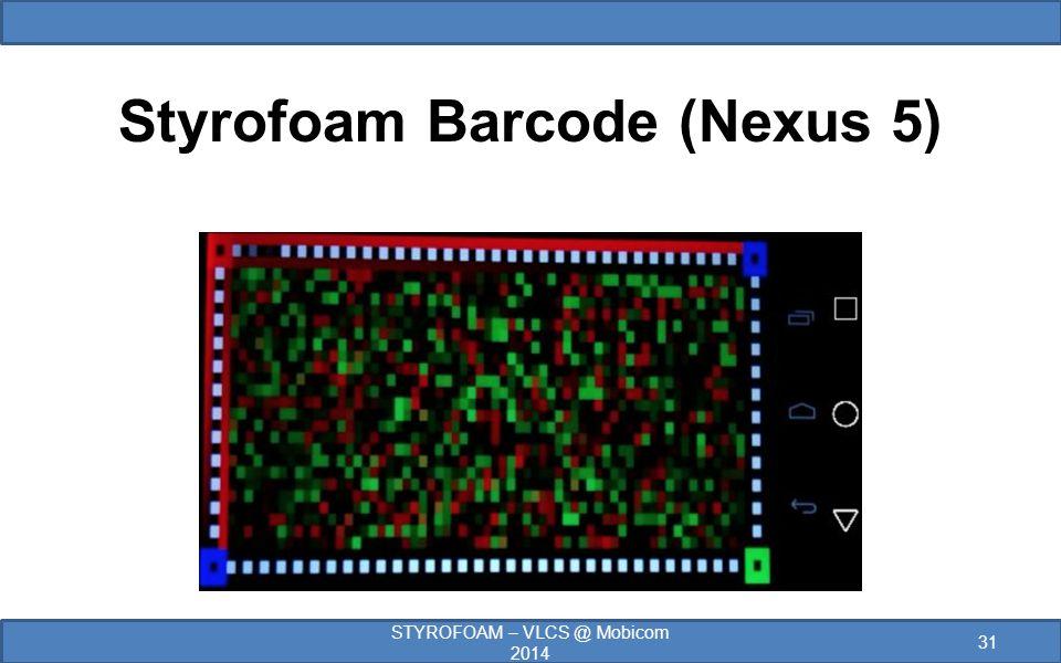 Styrofoam Barcode (Nexus 5) STYROFOAM – VLCS @ Mobicom 2014 31