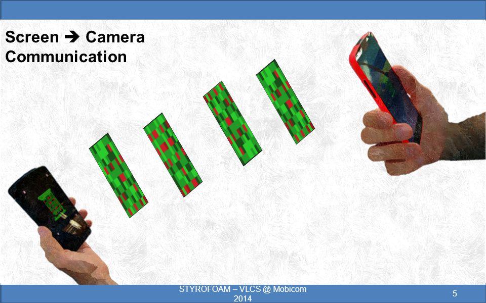 STYROFOAM – VLCS @ Mobicom 2014 5 Screen  Camera Communication
