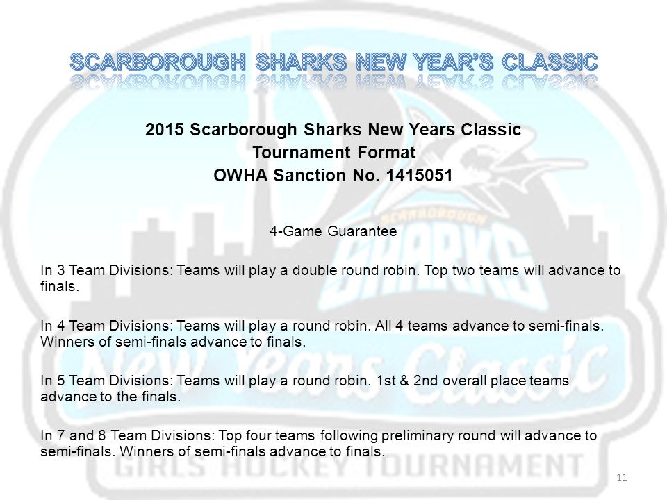2015 Scarborough Sharks New Years Classic Tournament Format OWHA Sanction No.
