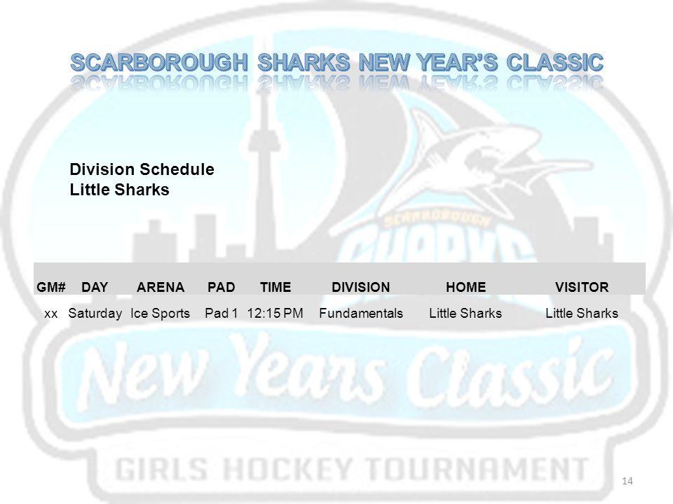 GM#DAYARENAPADTIMEDIVISIONHOMEVISITOR xxSaturdayIce SportsPad 112:15 PMFundamentalsLittle Sharks Division Schedule Little Sharks 14