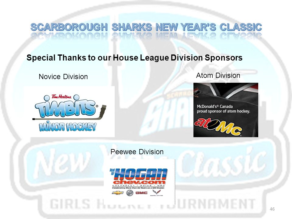 Special Thanks to our House League Division Sponsors Novice Division Atom Division Peewee Division 46