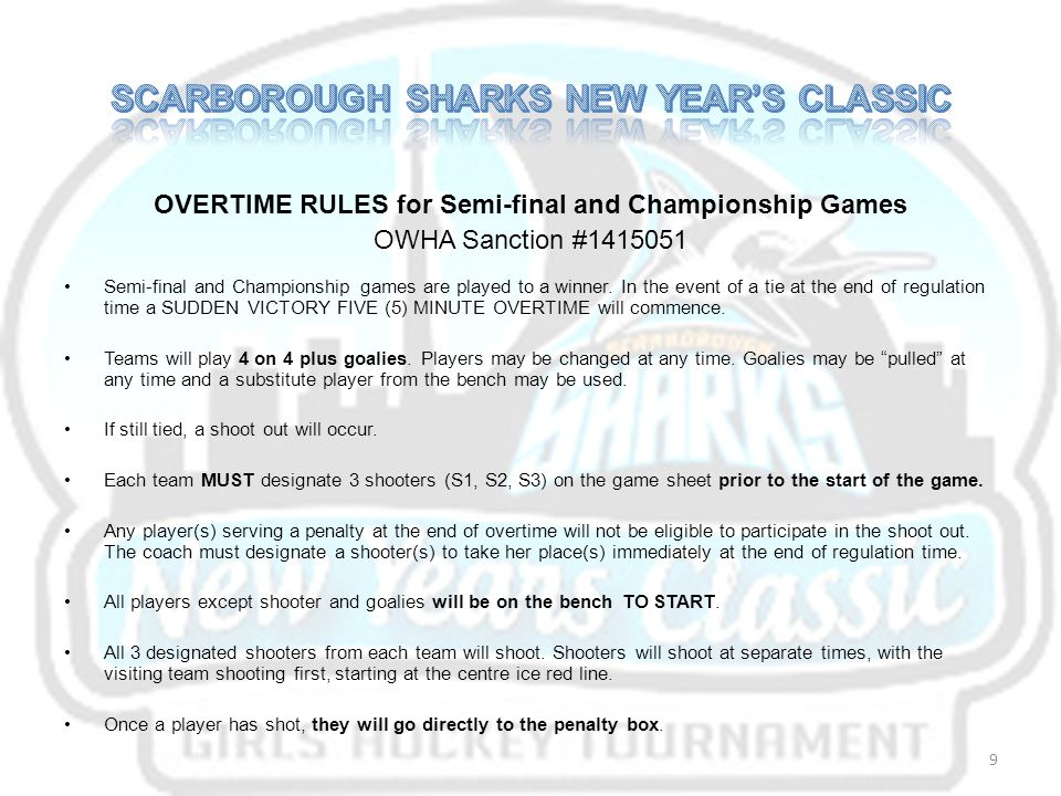OVERTIME RULES for Semi-final and Championship Games OWHA Sanction #1415051 Semi-final and Championship games are played to a winner.