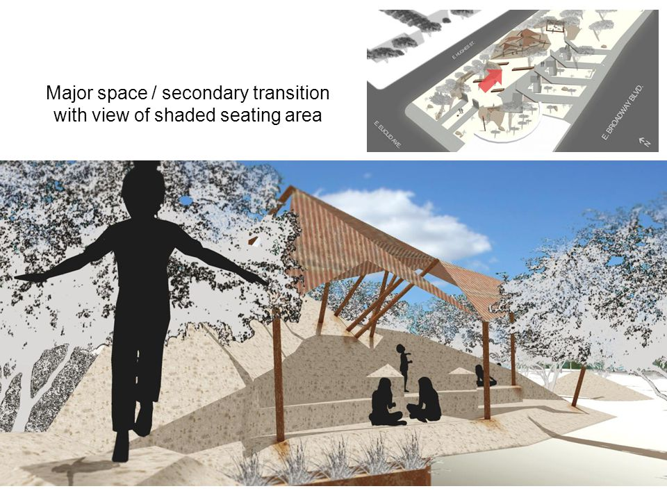 Major space / secondary transition with view of shaded seating area