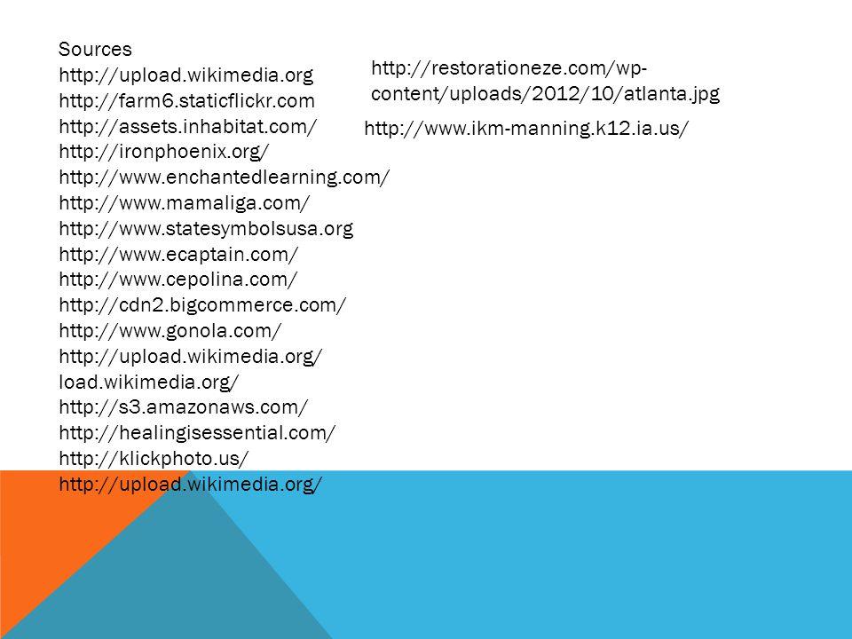 Sources http://upload.wikimedia.org http://farm6.staticflickr.com http://assets.inhabitat.com/ http://ironphoenix.org/ http://www.enchantedlearning.com/ http://www.mamaliga.com/ http://www.statesymbolsusa.org http://www.ecaptain.com/ http://www.cepolina.com/ http://cdn2.bigcommerce.com/ http://www.gonola.com/ http://upload.wikimedia.org/ load.wikimedia.org/ http://s3.amazonaws.com/ http://healingisessential.com/ http://klickphoto.us/ http://upload.wikimedia.org/ http://restorationeze.com/wp- content/uploads/2012/10/atlanta.jpg http://www.ikm-manning.k12.ia.us/