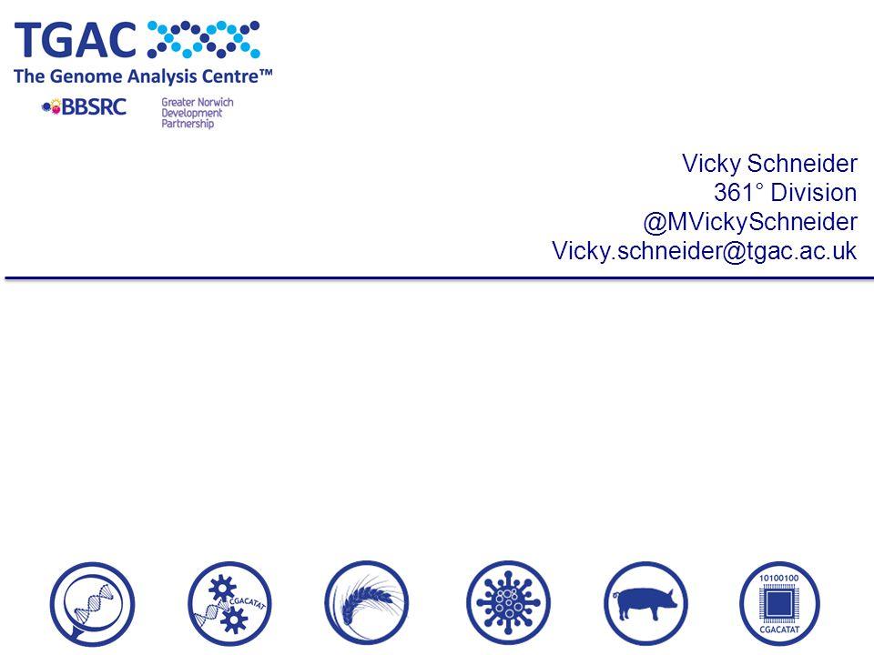 Vicky Schneider 361° Division @MVickySchneider Vicky.schneider@tgac.ac.uk