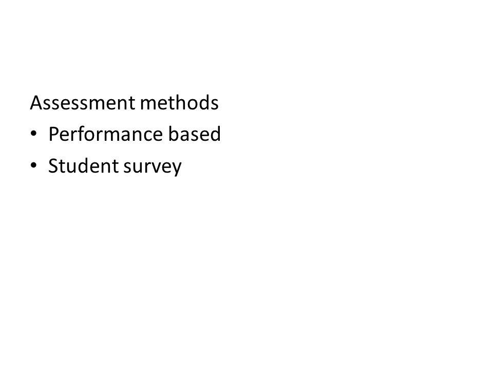 Assessment methods Performance based Student survey
