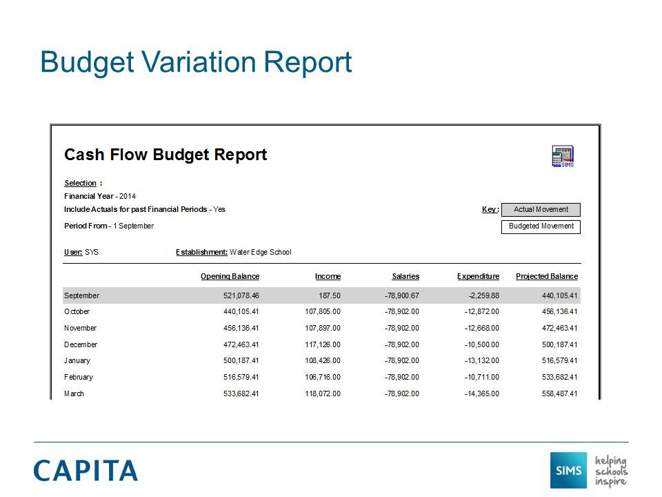 Budget Variation Report