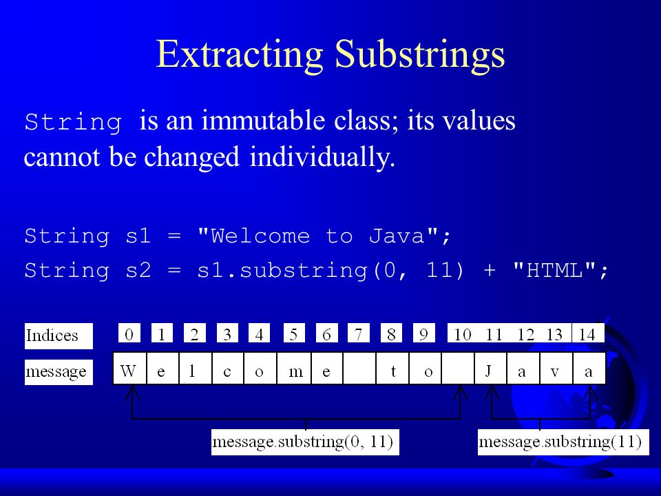 Extracting Substrings String is an immutable class; its values cannot be changed individually.