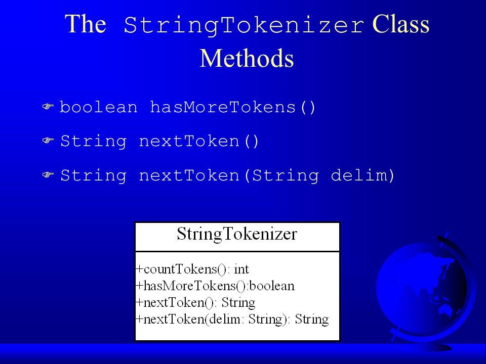 The StringTokenizer Class Methods F boolean hasMoreTokens() F String nextToken() F String nextToken(String delim)