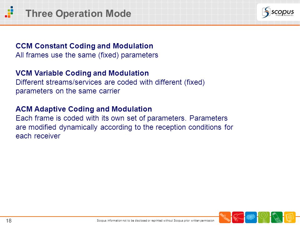 18 Scopus information not to be disclosed or reprinted without Scopus prior written permission Three Operation Mode CCM Constant Coding and Modulation