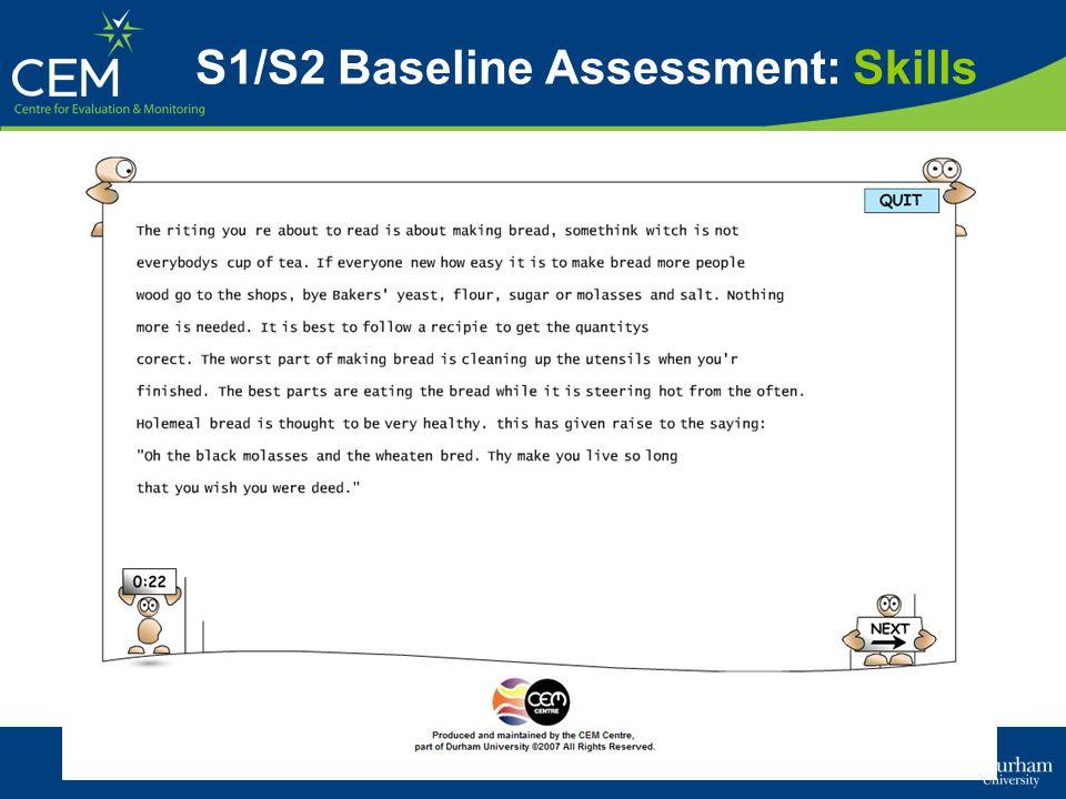 S1/S2 Baseline Assessment: Skills