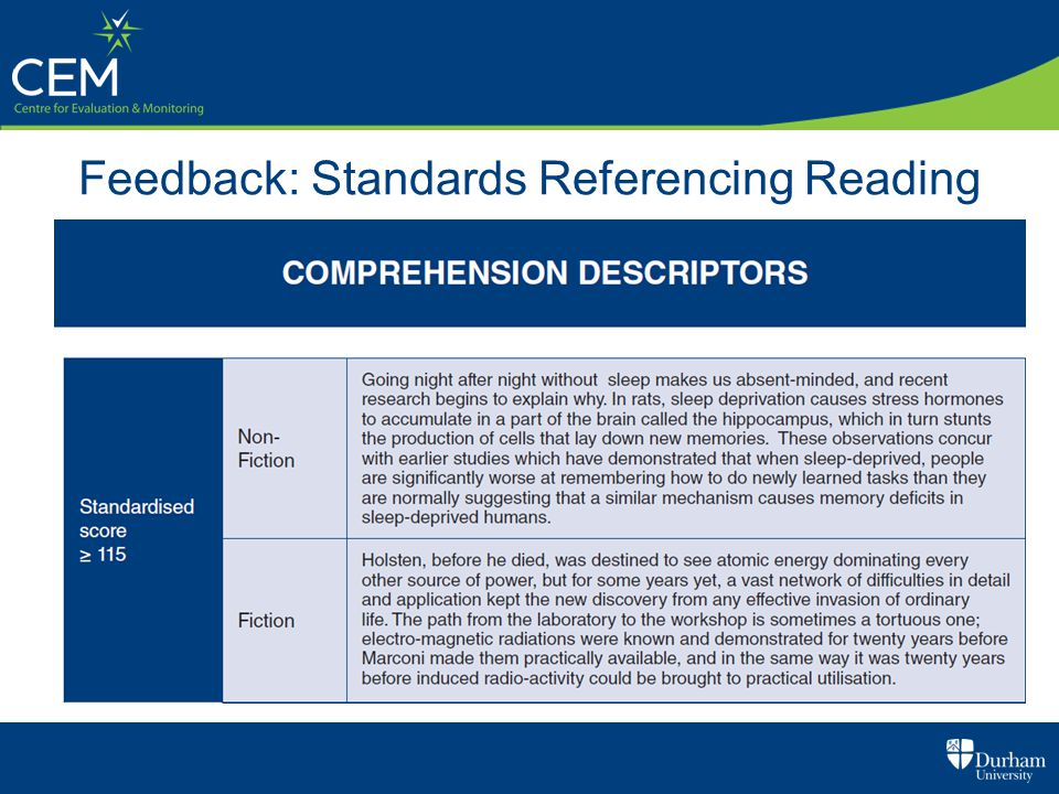 Feedback: Standards Referencing Reading