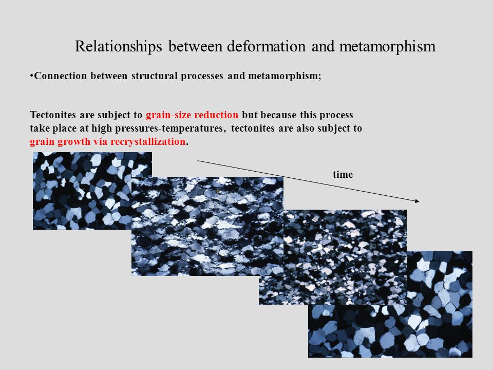 Relationships between deformation and metamorphism Connection between structural processes and metamorphism; Tectonites are subject to grain-size reduction but because this process take place at high pressures-temperatures, tectonites are also subject to grain growth via recrystallization.