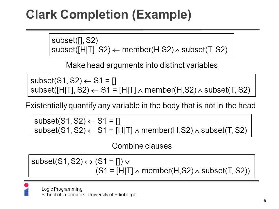 8 Logic Programming School of Informatics, University of Edinburgh Clark Completion (Example) subset([], S2) subset([H|T], S2)  member(H,S2)  subset