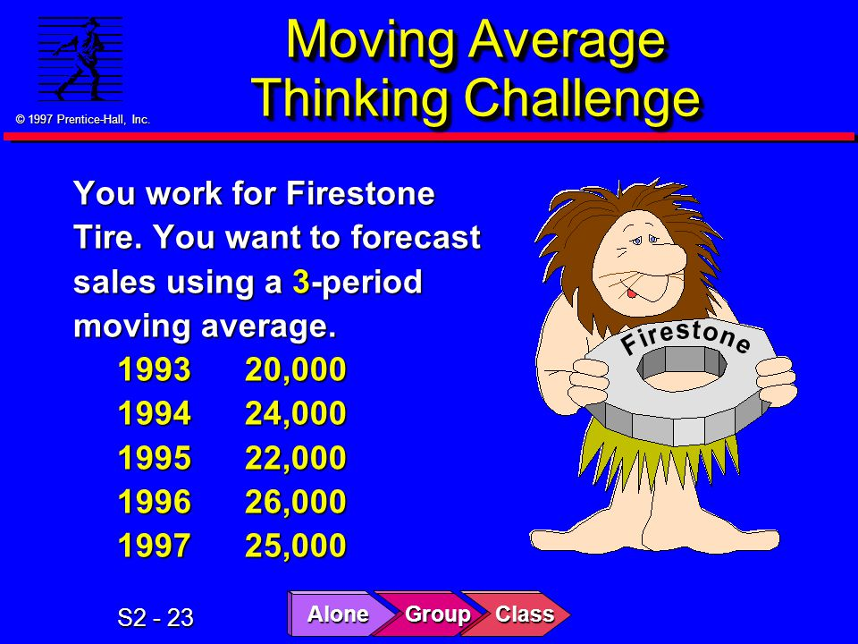© 1997 Prentice-Hall, Inc. S2 - 23 Moving Average Thinking Challenge You work for Firestone Tire.