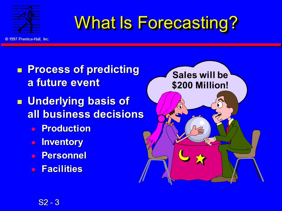 © 1997 Prentice-Hall, Inc. S2 - 3 What Is Forecasting.