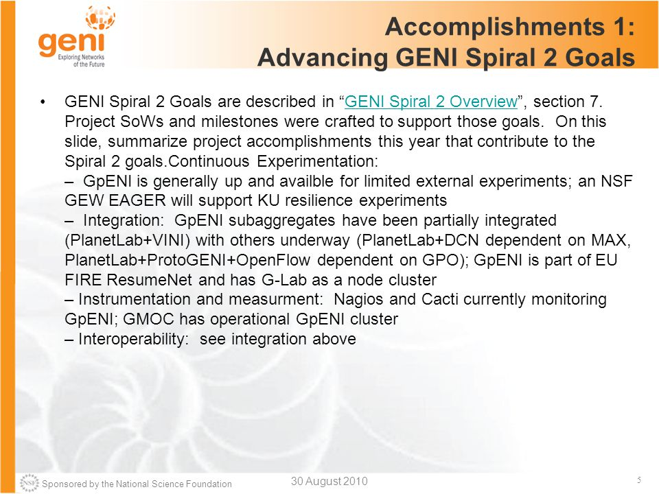 Sponsored by the National Science Foundation 5 Accomplishments 1: Advancing GENI Spiral 2 Goals GENI Spiral 2 Goals are described in GENI Spiral 2 Overview , section 7.