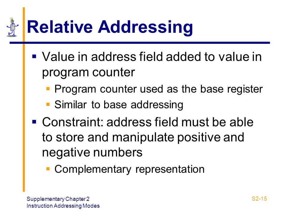 Supplementary Chapter 2 Instruction Addressing Modes S2-15 Relative Addressing  Value in address field added to value in program counter  Program co