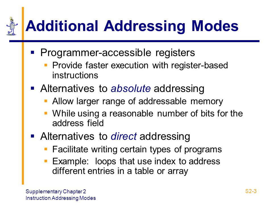 Supplementary Chapter 2 Instruction Addressing Modes S2-3 Additional Addressing Modes  Programmer-accessible registers  Provide faster execution wit