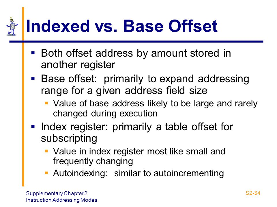 Supplementary Chapter 2 Instruction Addressing Modes S2-34 Indexed vs. Base Offset  Both offset address by amount stored in another register  Base o