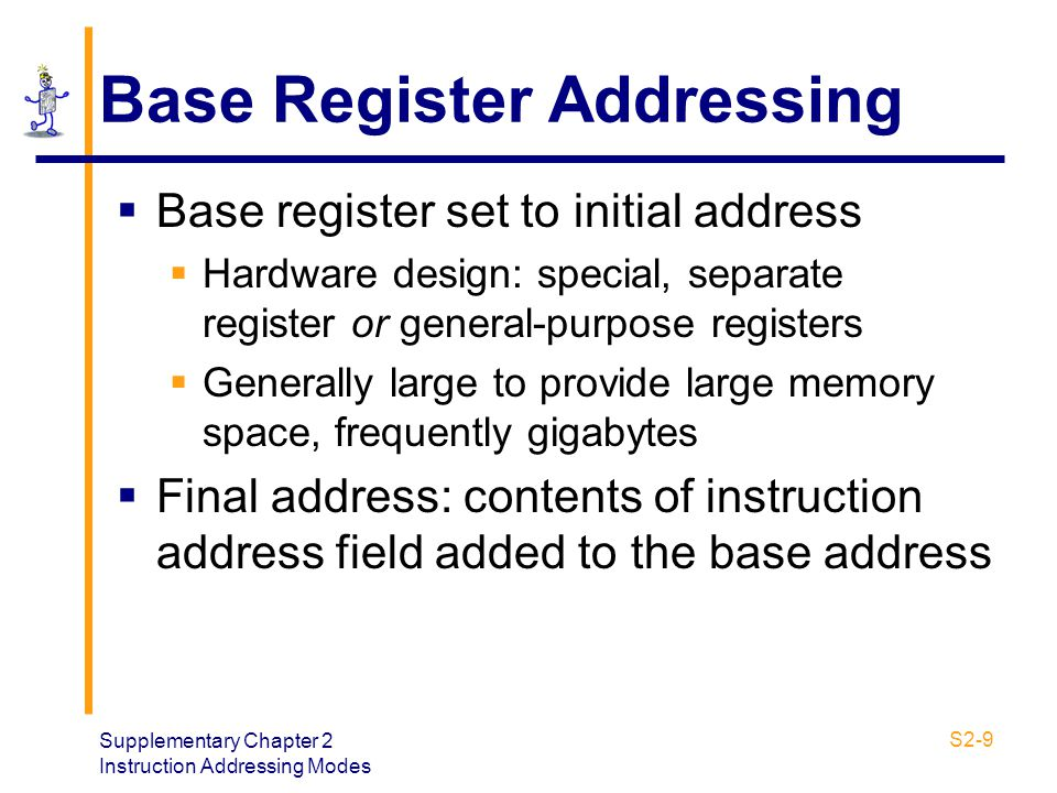 Supplementary Chapter 2 Instruction Addressing Modes S2-9 Base Register Addressing  Base register set to initial address  Hardware design: special,