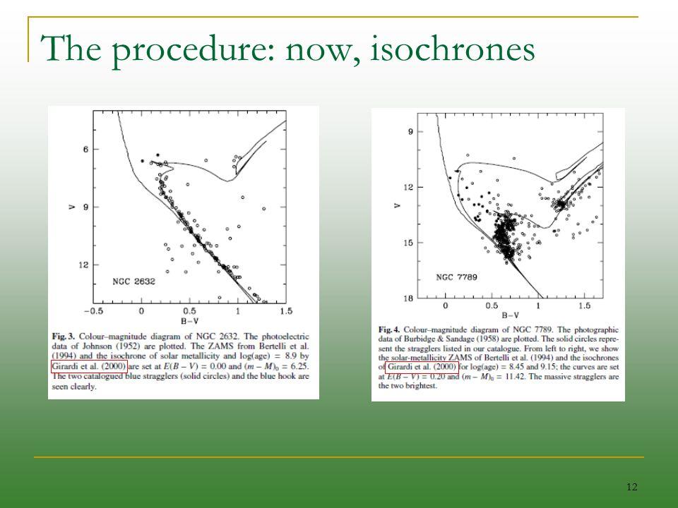 12 The procedure: now, isochrones