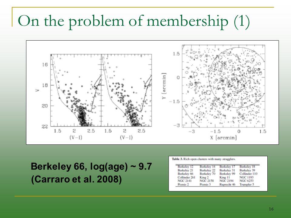 16 On the problem of membership (1) Berkeley 66, log(age) ~ 9.7 (Carraro et al. 2008)