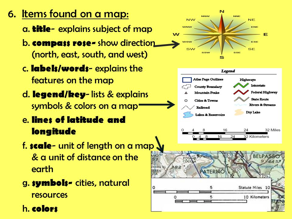 6.Items found on a map: a. title - explains subject of map b.