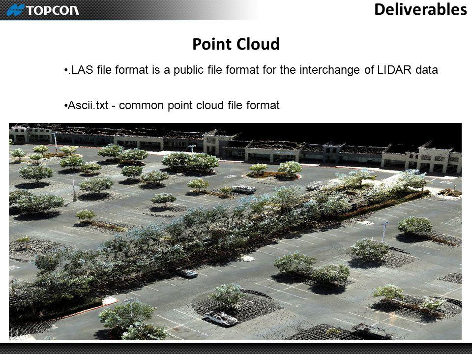 Deliverables Point Cloud.LAS file format is a public file format for the interchange of LIDAR data Ascii.txt - common point cloud file format