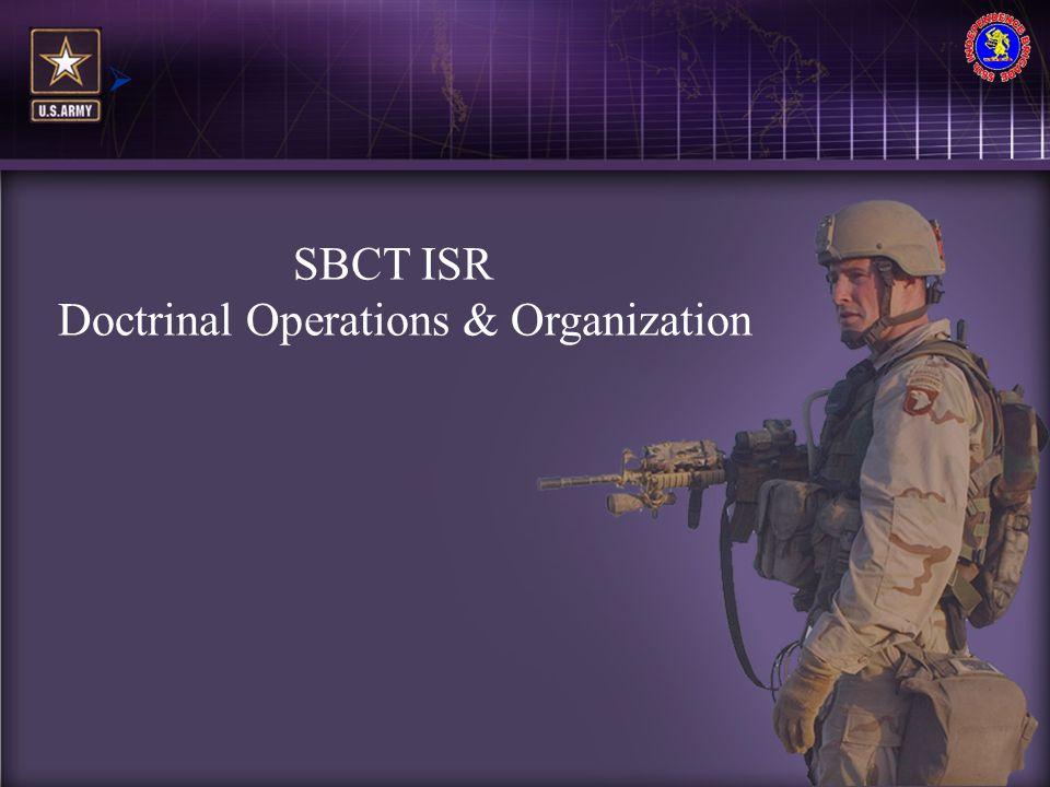 MI SBCT ISR Doctrinal Operations & Organization 