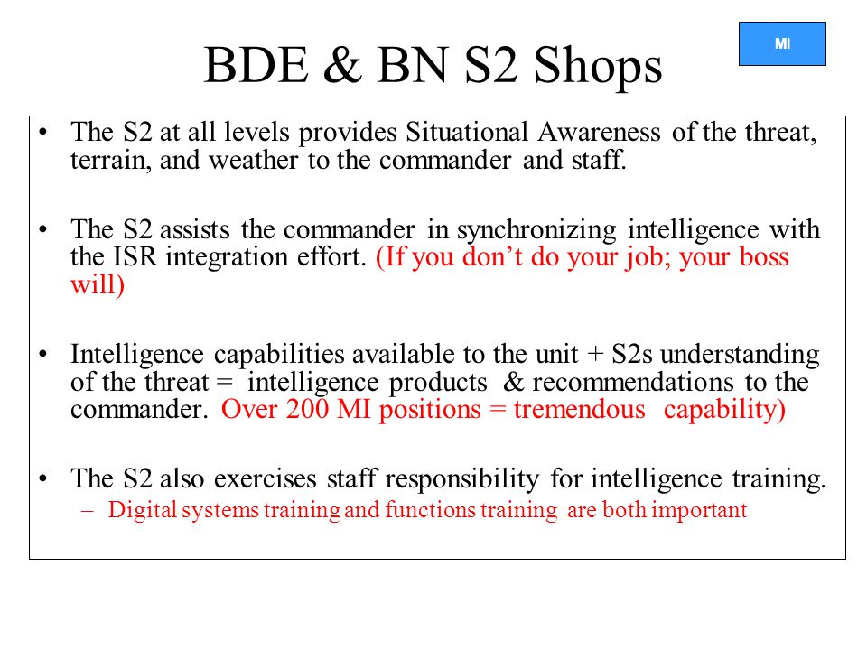 MI BDE & BN S2 Shops The S2 at all levels provides Situational Awareness of the threat, terrain, and weather to the commander and staff.