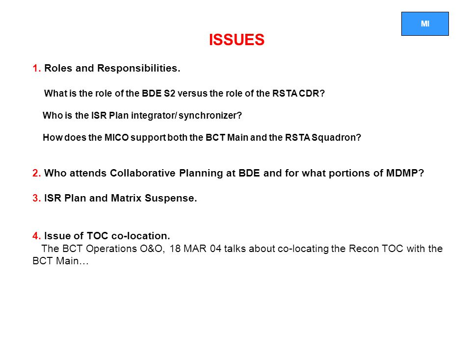 MI ISSUES 1.Roles and Responsibilities.