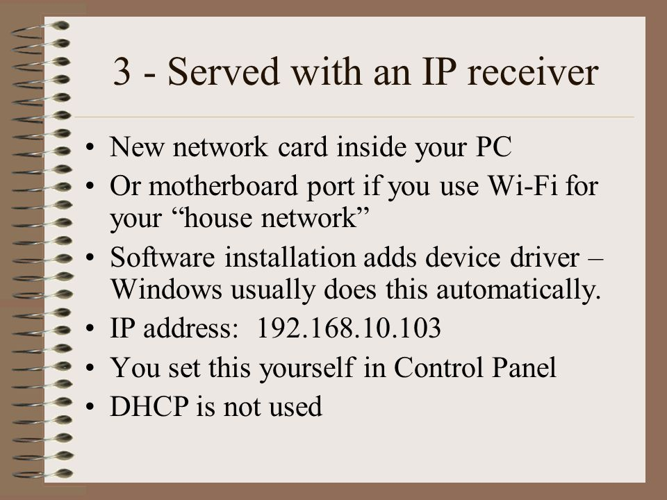 PC changes for IP receiver TelliCast software – unchanged SatSignal processing software –unchanged Recv-channels.ini – unchanged Update recv.ini: –[parameters] –# interface_address=192.168.238.238 –interface_address=192.168.10.103
