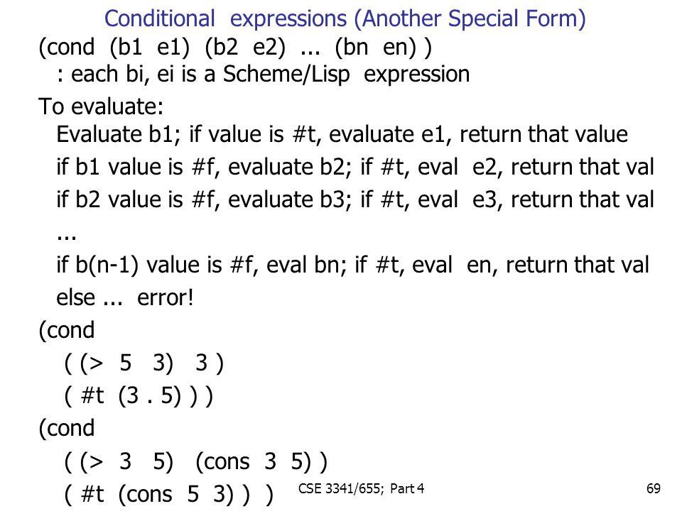 (cond (b1 e1) (b2 e2)...